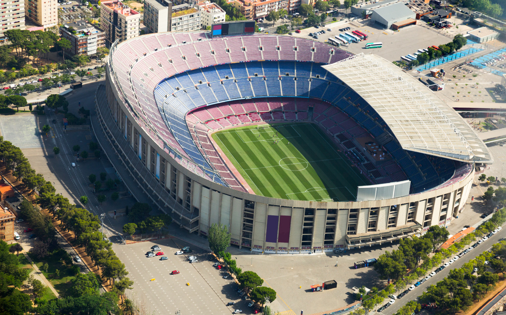 Camp Nou, famous footbal stadium in Barcelona of Catalonia, Spain