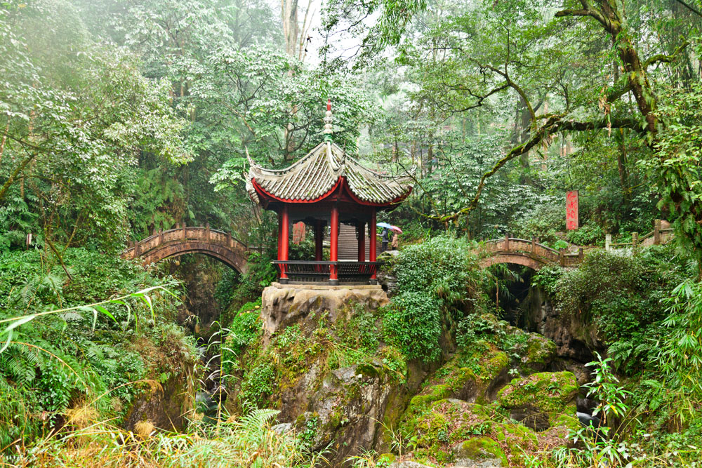 Chinese pavilion on a rainy day, Emeishan, China