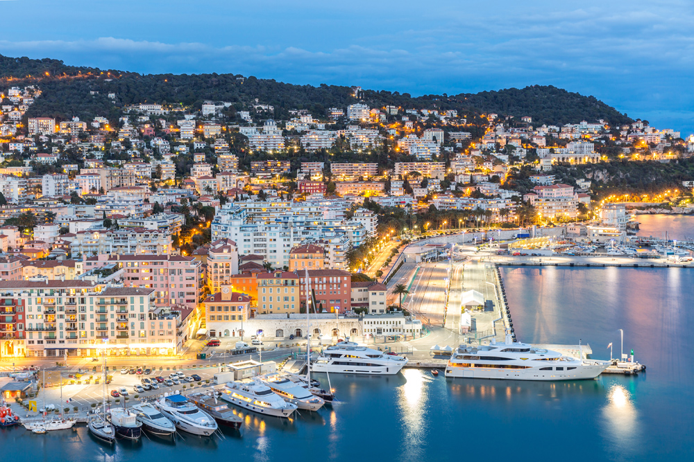 Cote d'Azur with Mediterranean beach at dusk, Nice, France