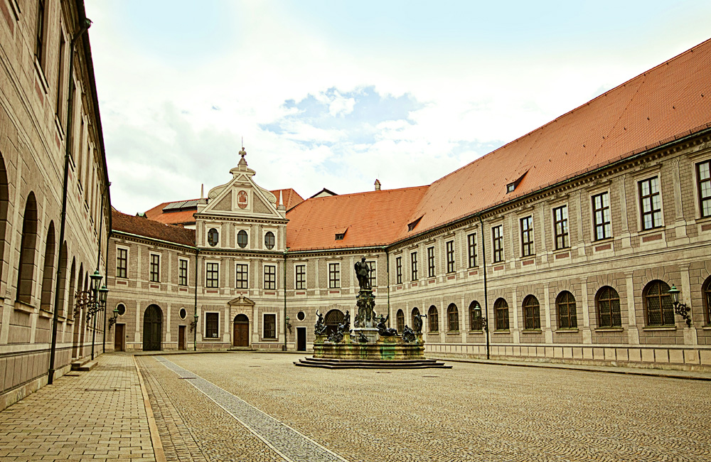 Fountain Courtyard (Brunnenhof) is one of the ten courtyards of the Residenz Palace, Munich, Germany