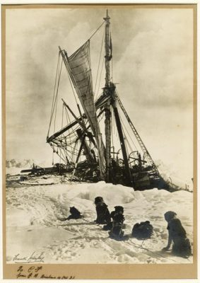 Frank Hurley photo of the Endurance being crushed by ice in Antarctica, circa 1915