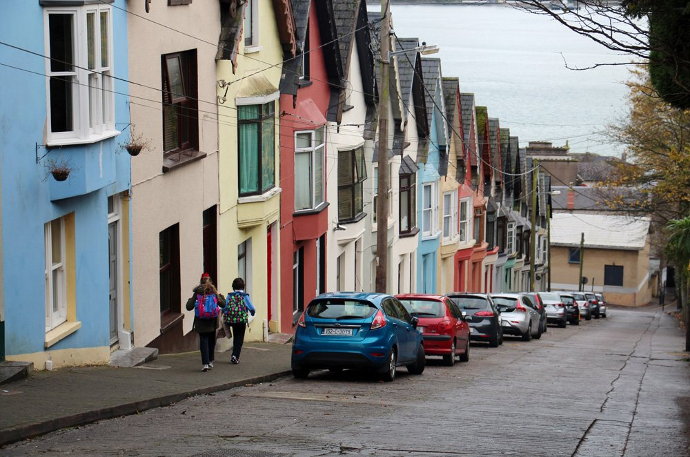 Janie Robinson - Kids walking past Deck of Cards houses, Cobh, Ireland