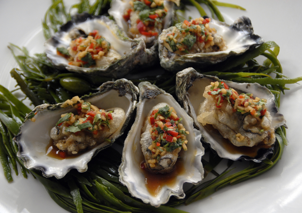 Janie Robinson - Tempura oysters at Rick Stein at Bannisters restaurant, Mollymook, New South Wales, Australia