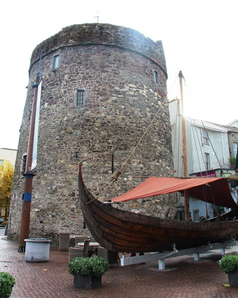 Janie Robinson - Viking ship and Reginald's Tower at Viking Triangle, Waterford, Ireland