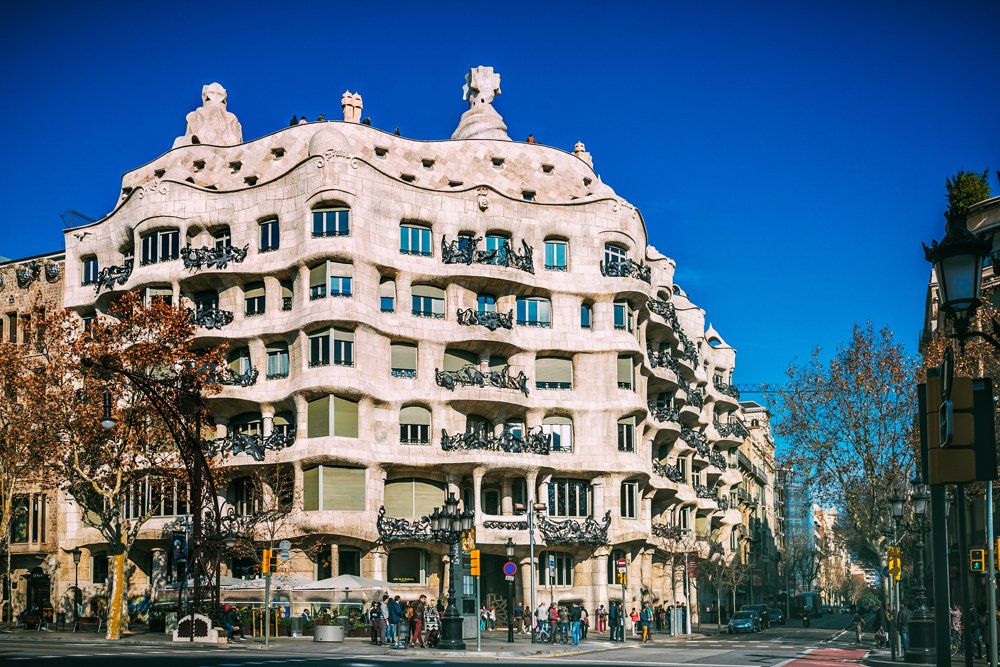 La Pedrera House facade in Barcelona, Spain