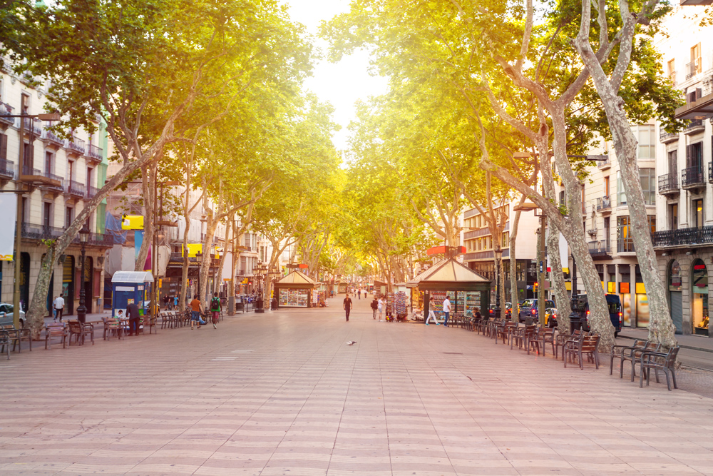 La Rambla street in the early morning, Barcelona, Spain