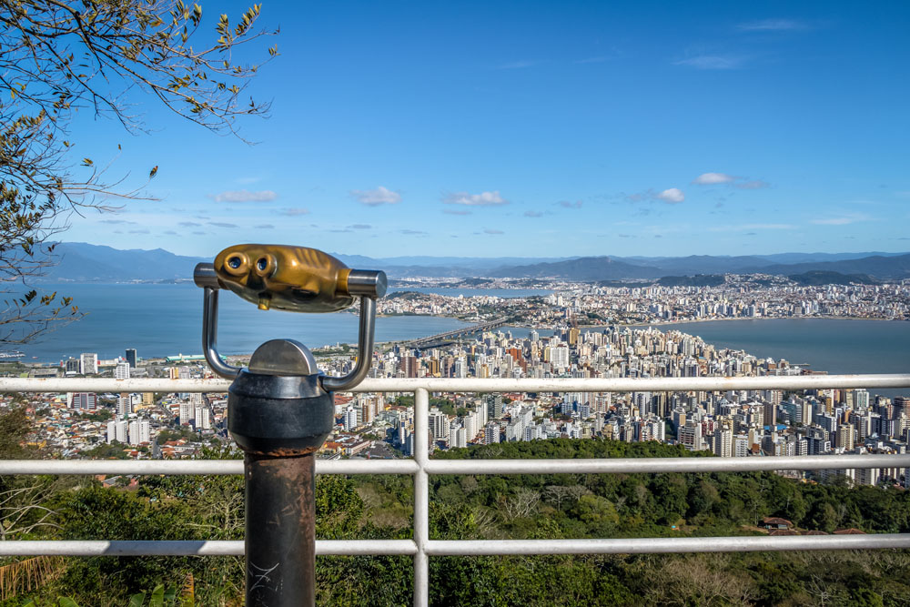 Morro da Cruz Viewpoint and Downtown city view of Florianopolis, Brazil