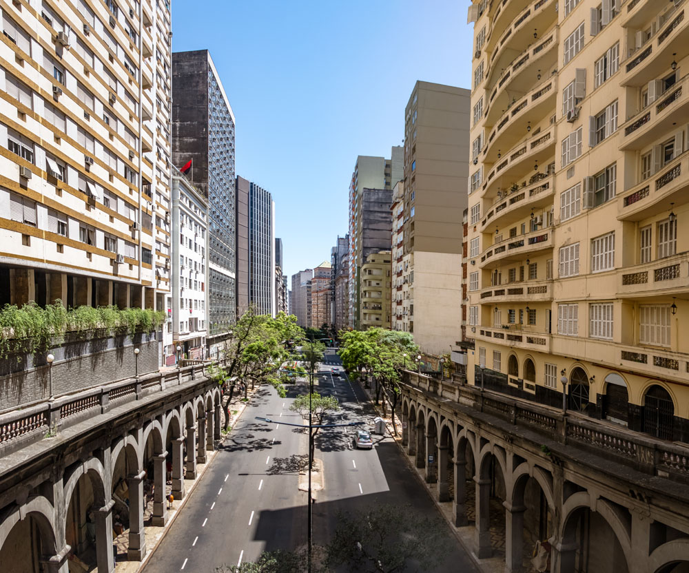 Otavio Rocha Viaduct over Borges de Medeiros Avenue in downtown Porto Alegre City, Brazil