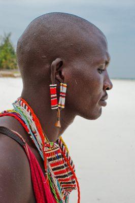 Portrait of a Maasai warrior on Diani Beach, Tanzania
