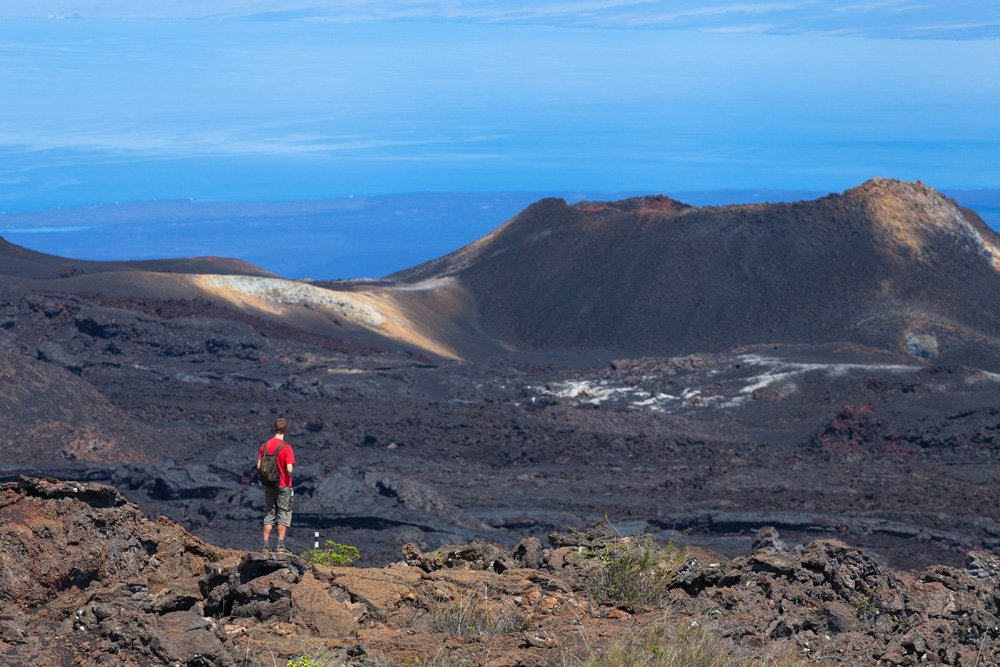 Sierra Negra Volcano, the second largest crater in the world, Galapagos Islands, Ecuador