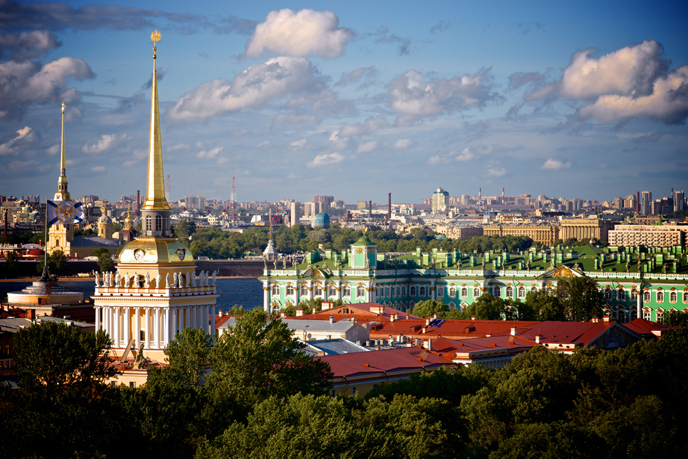 St Petersburg skyline with Peter and Paul Fortress and Hermitage Museum, St Petersburg, Russia