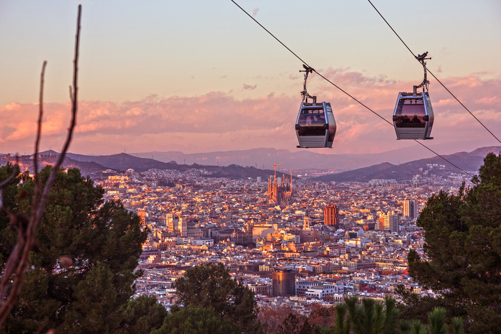 Teleferic de Montjuic and view of Barcelona, Spain