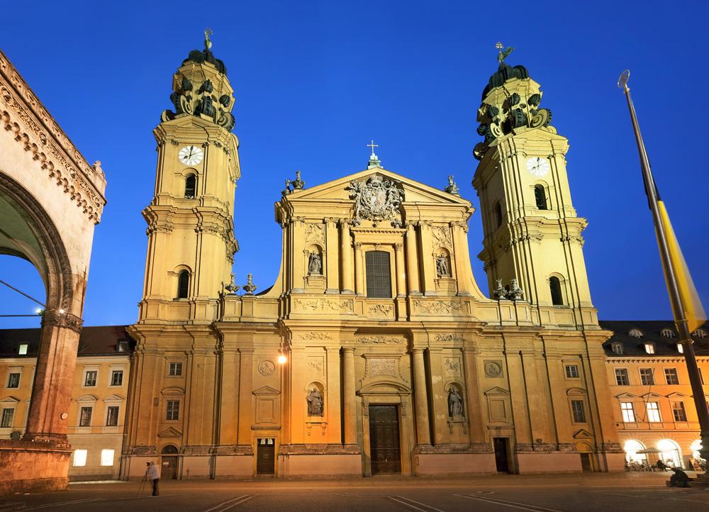 Theatine Church of St. Cajetan at night, Munich, Germany