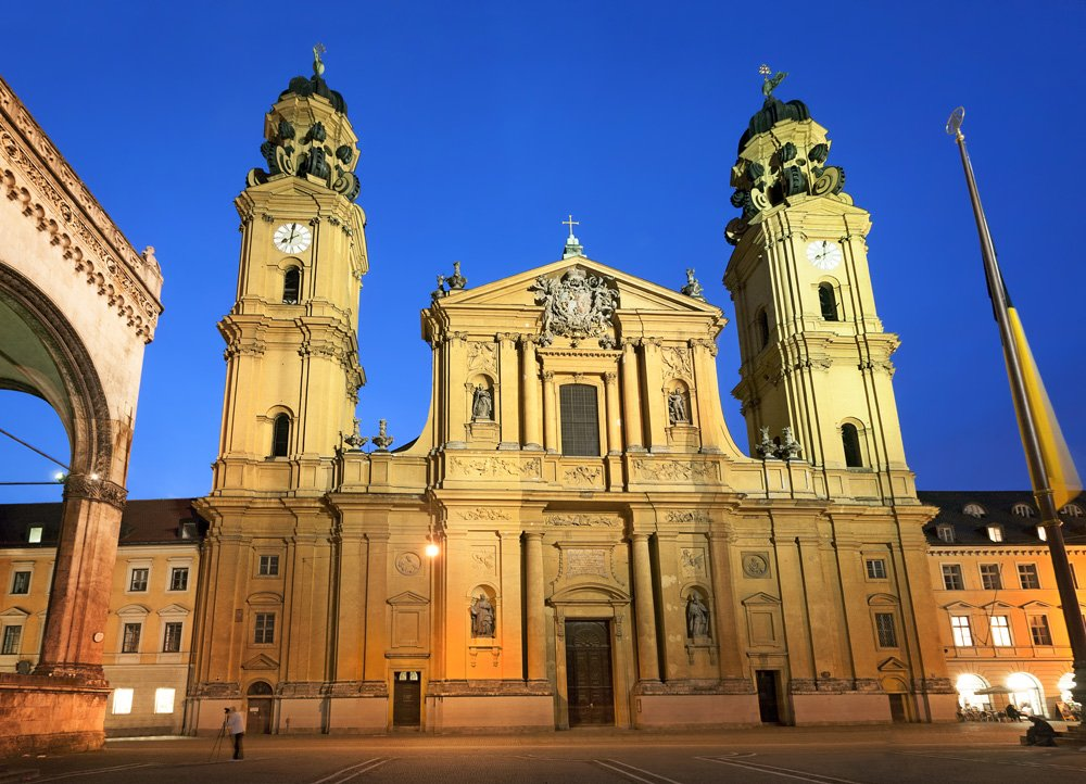 Theatine Church of St. Cajetan at night, Munich, Germany