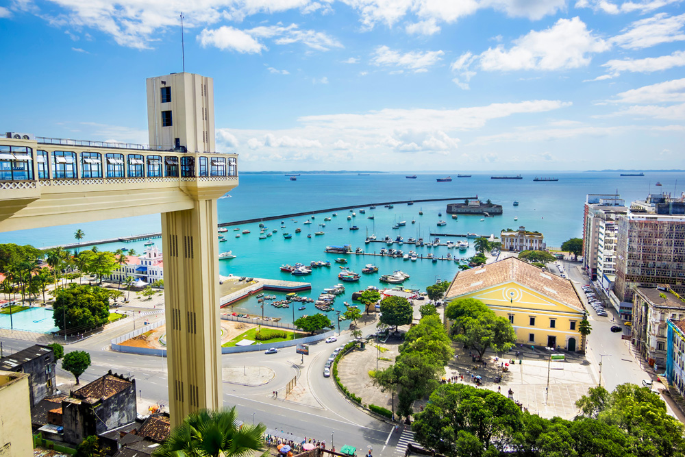 View of Lacerda Elevator and All Saints Bay (Baia de Todos os Santos) in Salvador, Bahia, Brazil