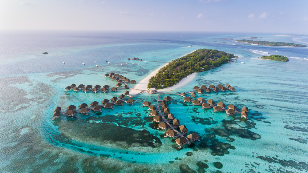 Aerial view in Maldives