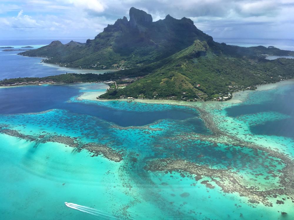Aerial view of Bora Bora, Tahiti (French Polynesia)