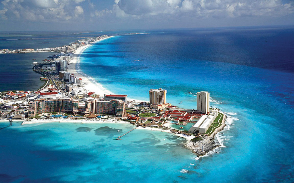 Aerial view of Cancun, Yucatan Peninsula, Mexico