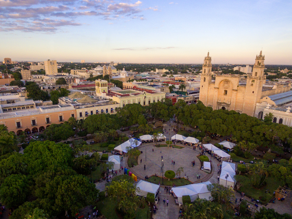 Aerial view of Plaza de la Independencia and Merida Cathedral, Merida, Mexico