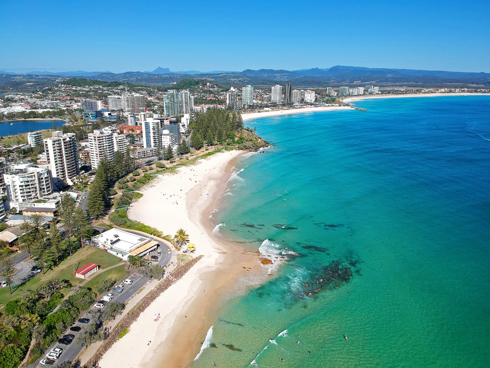 Aerial view of Snapper Rocks and Coolangatta, Gold Coast, Queensland, Australia