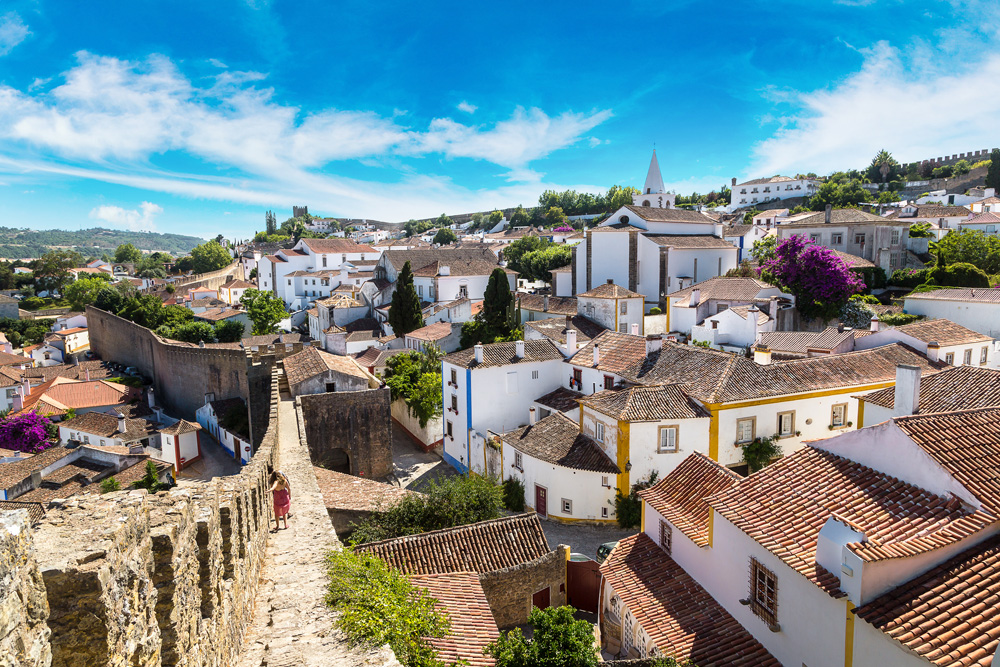 Aerial view of medieval town Obidos in a beautiful summer day, Portugal