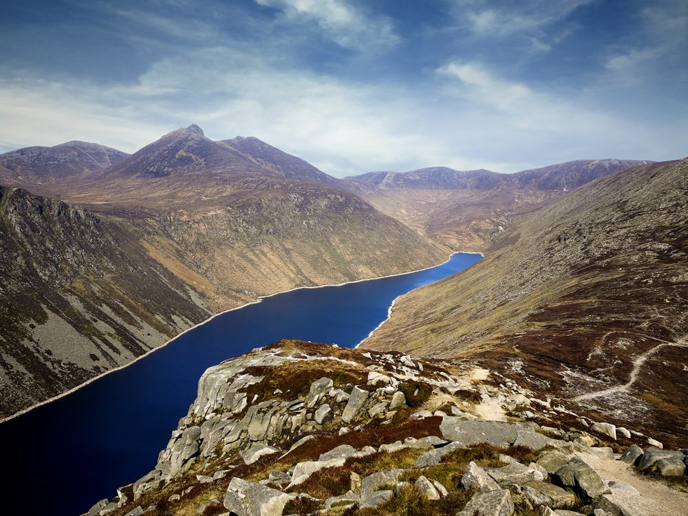 Ben Crom reservoir and mountains of Mourne, County Down, Northern Ireland