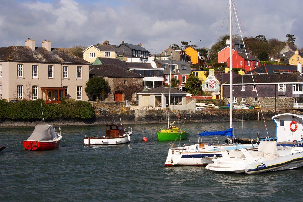 Boats moored in Kinsale Harbour in County Cork, Ireland