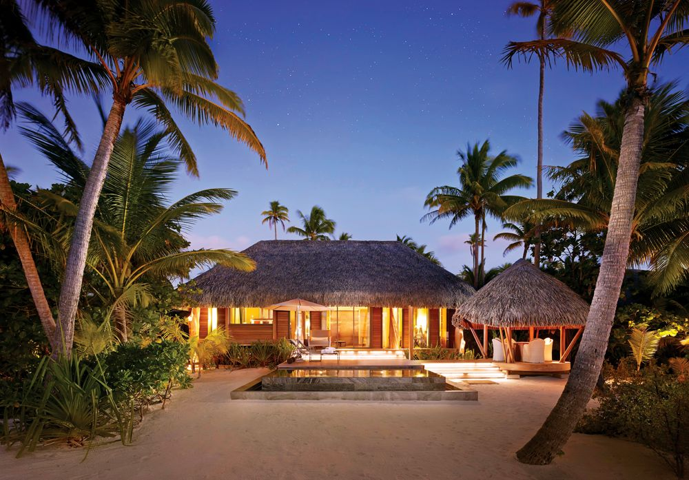 Brando one bedroom villa at twilight, Tetiaroa, Tahiti (French Polynesia)