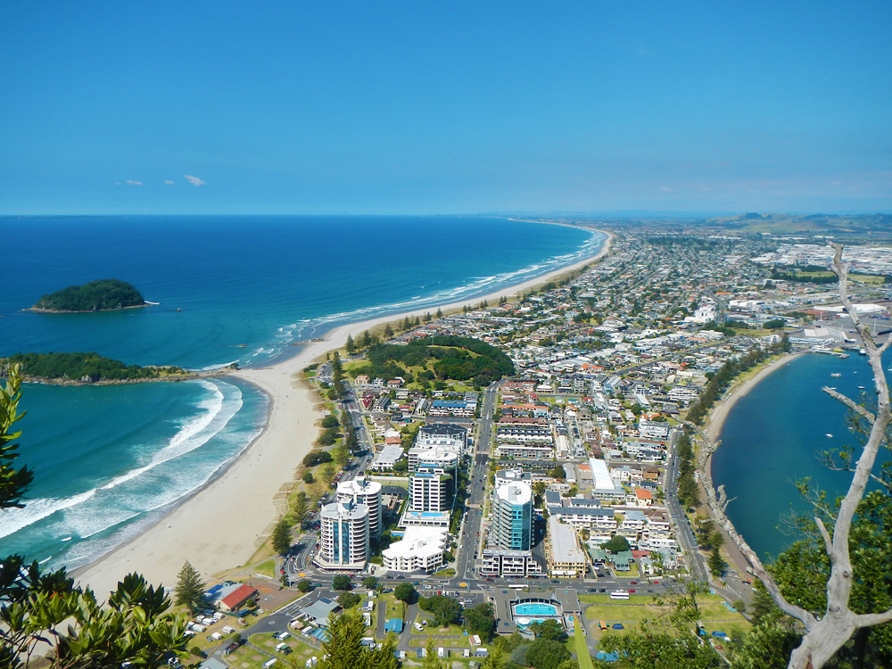 City of Tauranga as seen from the famous scenic lookout place on Mount Maunganui, Bay of Plenty, New Zealand