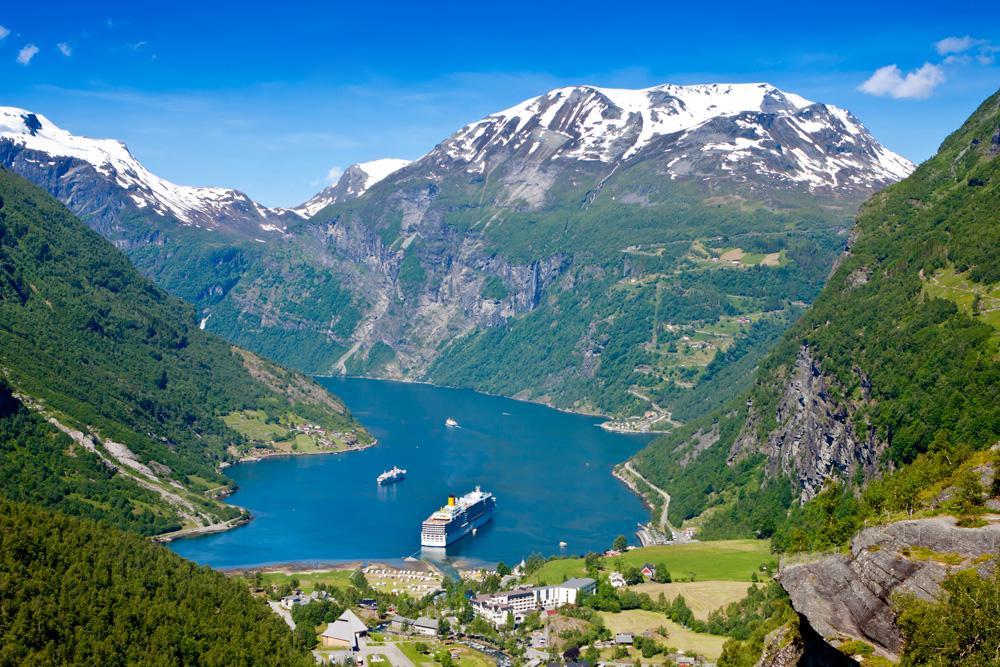 Cruiseship sailing along Geiranger Fjord, Norway