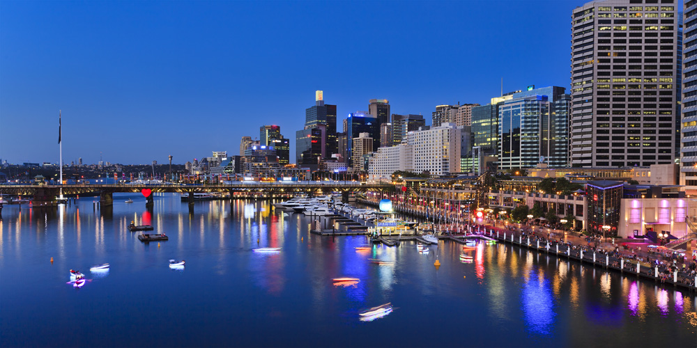 Darling Harbour at sunset, Sydney, New South Wales, Australia