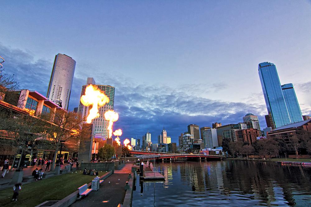 Fire show at Melbourne Crown Casino during twilight, Melbourne, Australia