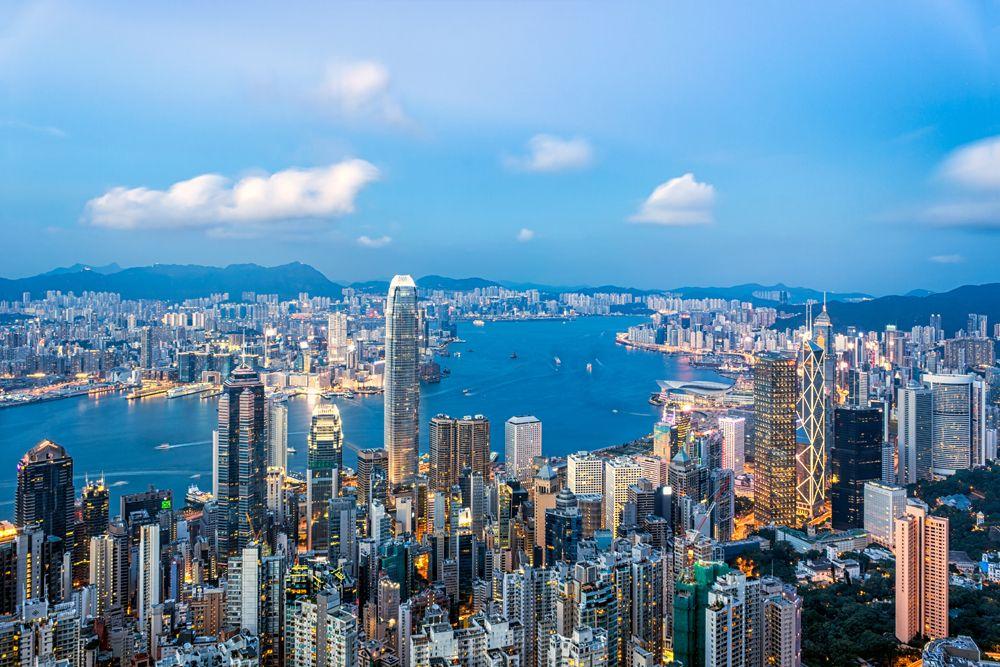 Hong Kong skyline from Victoria Peak and blue skies