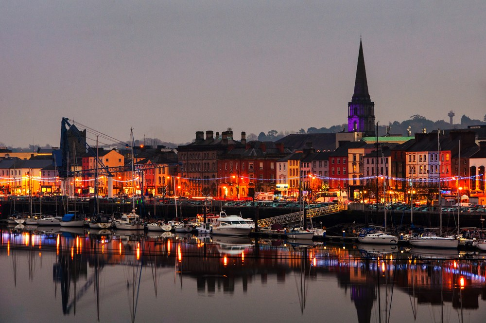 Illuminated night view of Waterford, Ireland