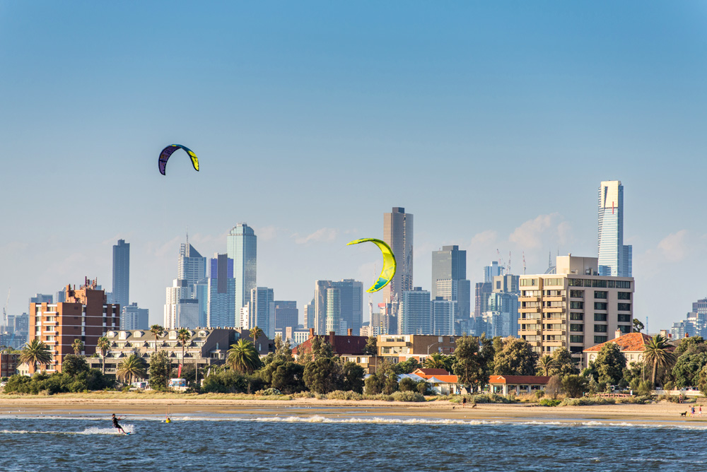 Melbourne skyline and St Kilda's Beach, Australia