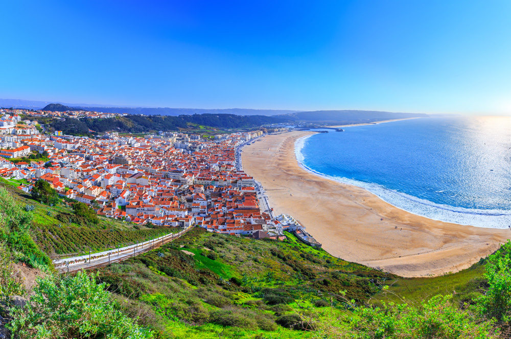 Nazare beach and town, Nazare, Portugal