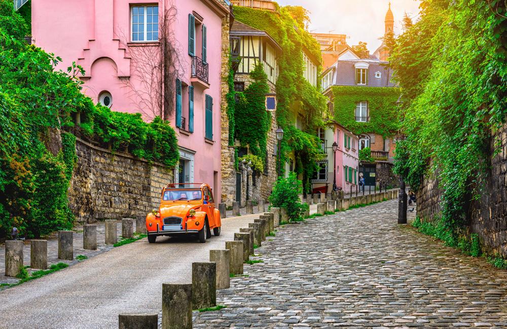 Old street in Montmartre quarter in Paris, France