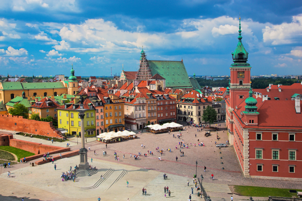 Royal Castle and Sigismund's Column in Old Town, Warsaw, Poland