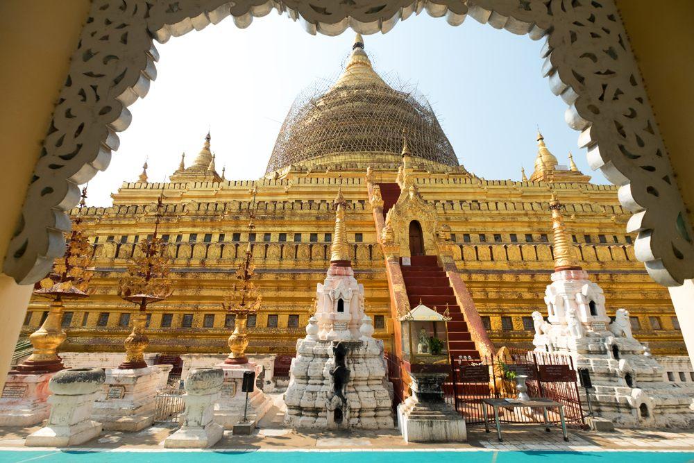 Shwezigon Paya Pagoda in Bagan, Myanmar