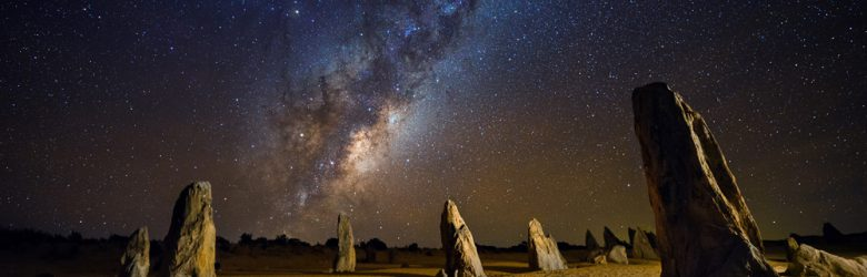 Starry night at the Pinnacles, Western Australia, Australia