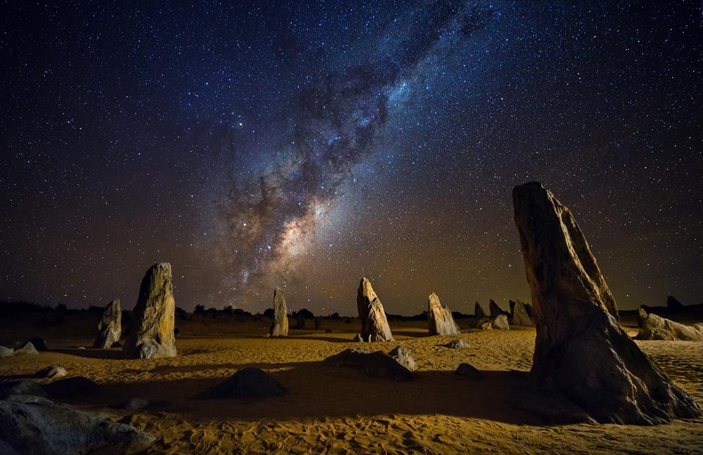 Starry night at the Pinnacles, Western Australia, Australia