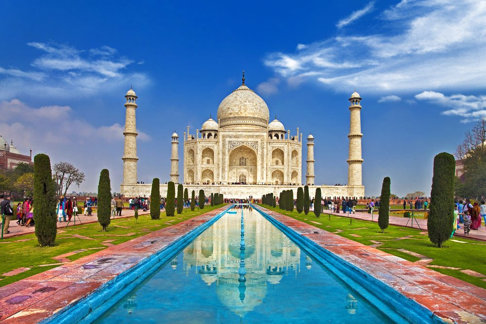 Taj Mahal under blue skies, Agra, India
