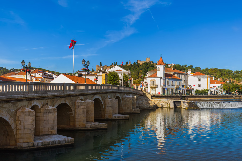 Town of Tomar with Convent of Christ on hill, Portugal
