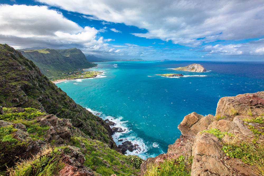 View from Makapuu Lighthouse in Oahu, Hawaii