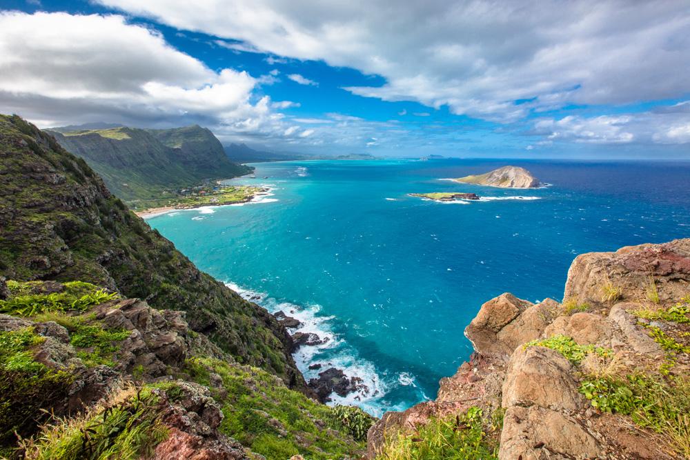 View from Makapuu Lighthouse in Oahu, Hawaii