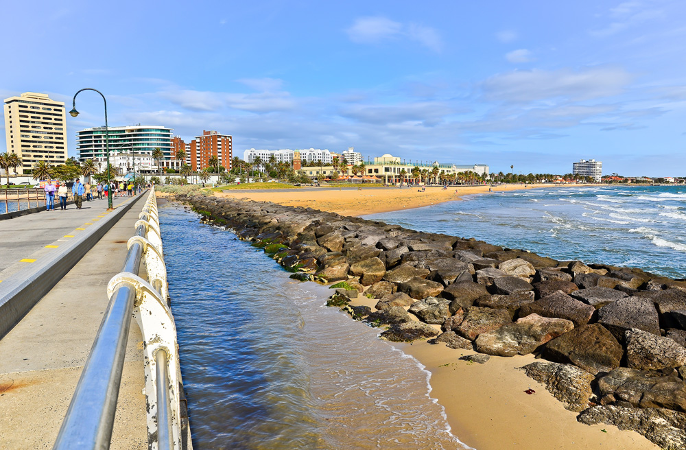 View of St Kilda Beach in Melbourne, Australia