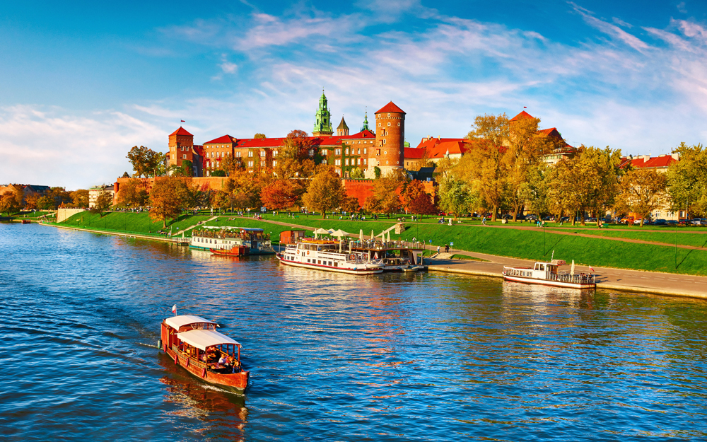 Wawel Castle along the Vistula River in Krakow, Poland