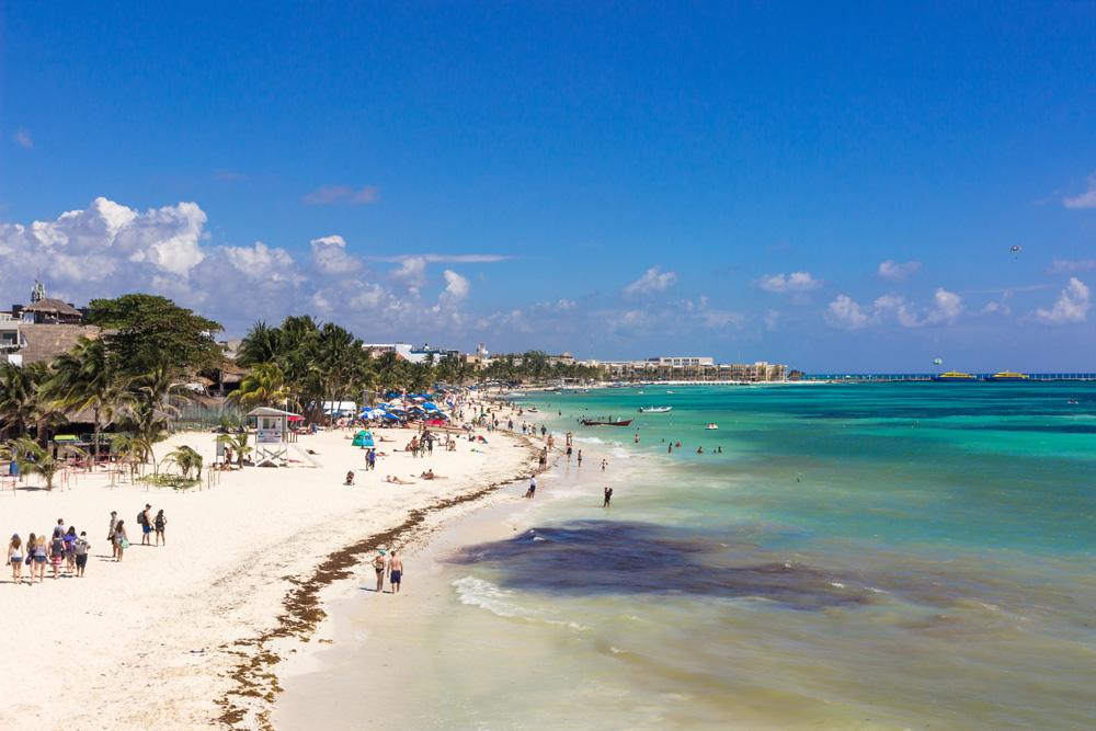White sand beach and turquoise waters of Playa del Carmen, Mexico