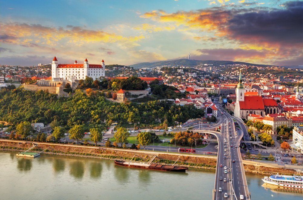 Aerial view of Bratislava at sunset, Slovakia