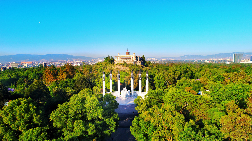 Aerial view of Castillo de Chapultepec, Mexico City, Mexico